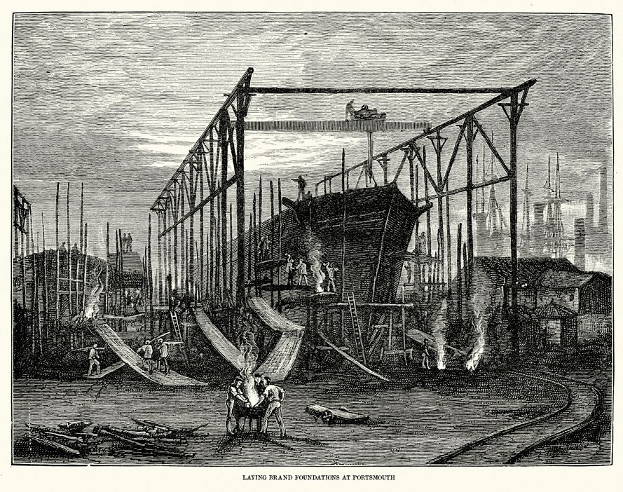 "19th Century drawing of the hull of a ship being built in a shipyard. Captioned ""Laying brand foundations at Portsmouth."""