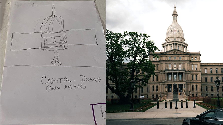 A side by side example of a storyboard sketch with the video shot taken and used in the film