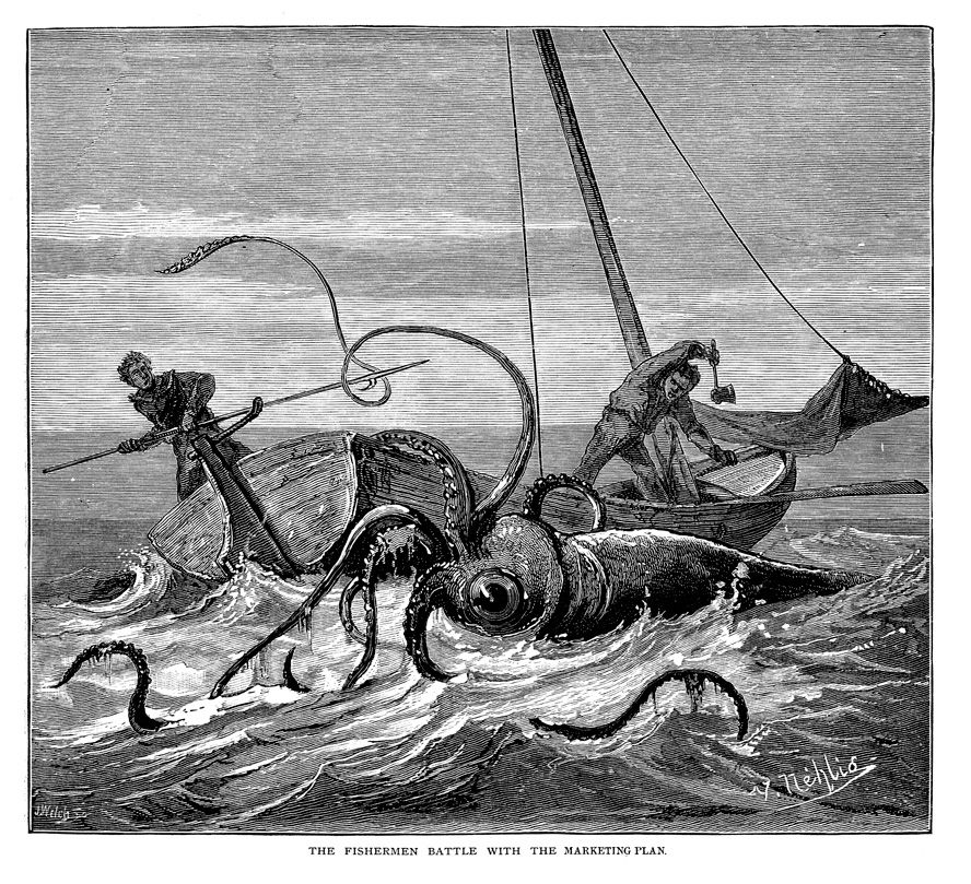 "19th Century line drawing of a giant squid attacking a boat while two men attempt to fight it off. Captioned ""The fishermen battle with the marketing plan."""