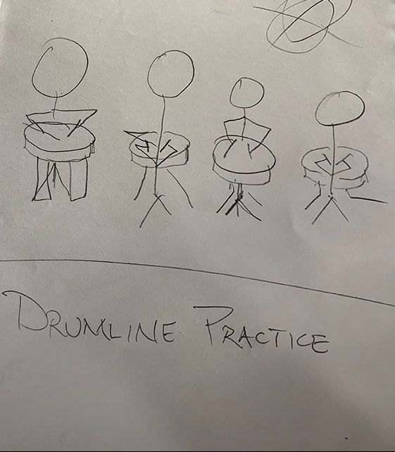 An example of a storyboard sketch that shows four stick figures playing the drums. The image is labeled drumline.