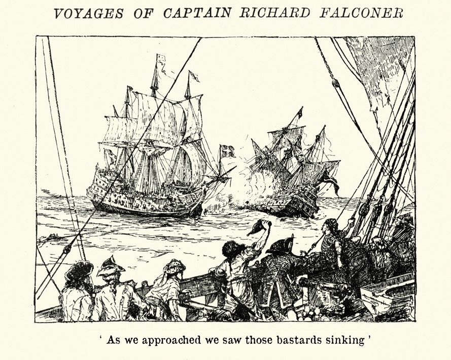 "18th Century line drawing of a large ship sinking another ship as a crew of sailors cheer on. Captioned ""As we approached, we saw those bastards sinking."""
