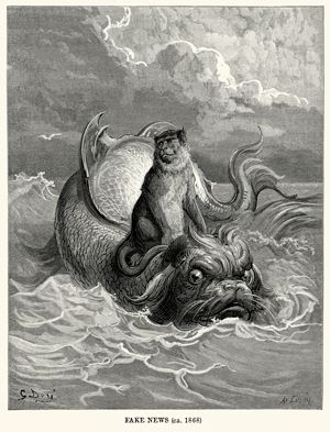 "Antique drawing of a monkey standing atop a sea monster meant to be a visualization of Aesop's fable The Monkey and the Dolphin. Caption reads ""Fake news circa 1868."""