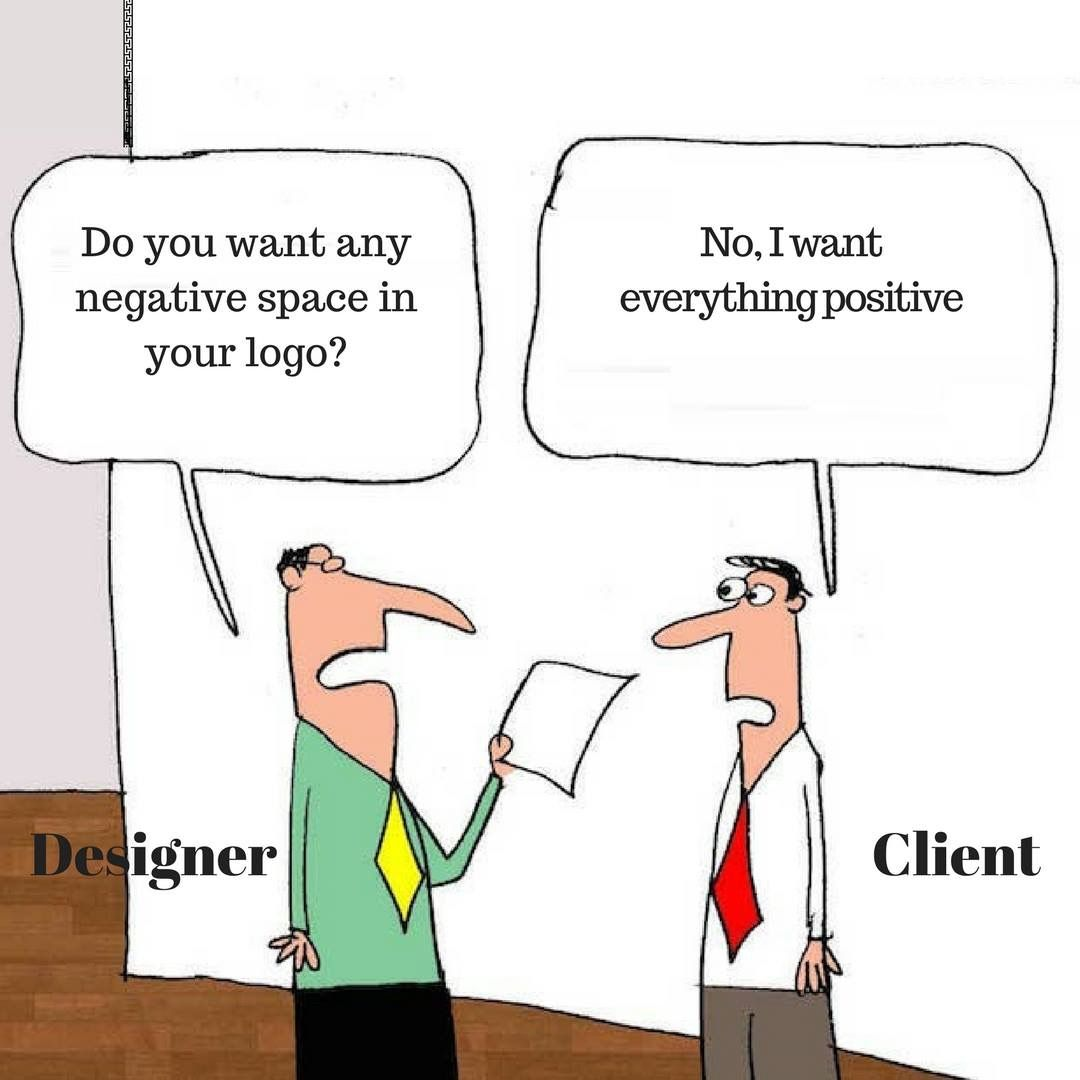 Cartoon of a how a designer and a client see whitespace different.